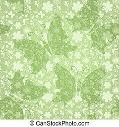 Green gentle floral pattern