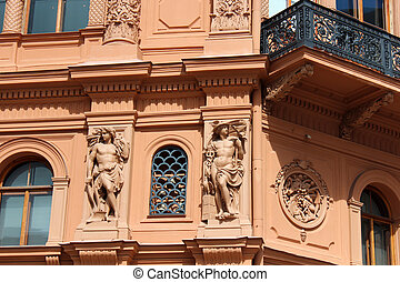 Art nouveau building in the Old Town of Riga, Latvia - Art...