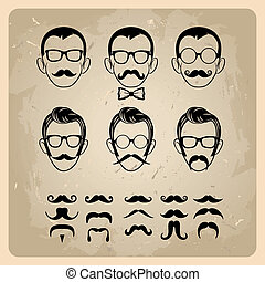 Faces with Mustaches, sunglasses,eyeglasses and a bow tie -...