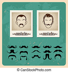 set of faces with mustaches - set of vector illustration...