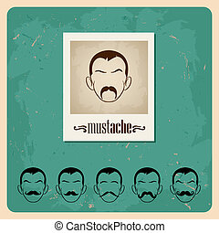 set of  faces with mustaches