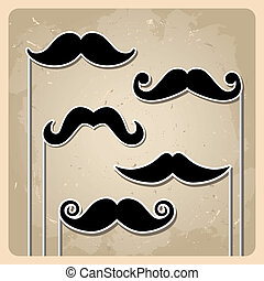 Vector set of hipster mustache - set of vector illustration...