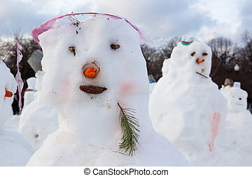 Snowmans in Gorky Park. Moscow. Russia.