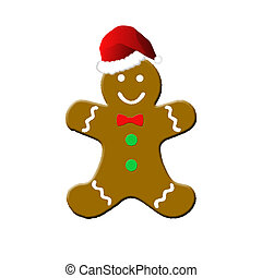 gingerbread man with santa hat