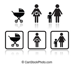 Baby icons set - carriage, pregnant - Black icons set -...
