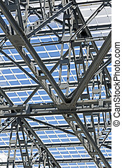 Steel Structure - Detail of steel framework of a roof...