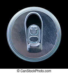 top view of opened can isolated on