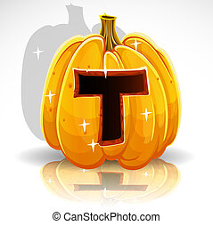 Halloween font cut out pumpkin T