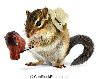 Funny chipmunk cowboy with stick horse on white