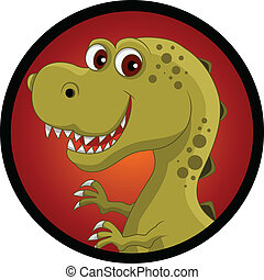 funny dinosaur head cartoon - vector illustration of funny...