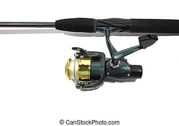 Fishing Pole - Isolated green fishing pole and open faced...