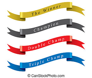 Winner Champion Ribbon set vector - The abstract of Winner...
