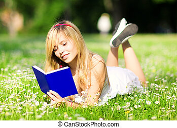 summertime - outdoor picture of lovely teenage girl with...