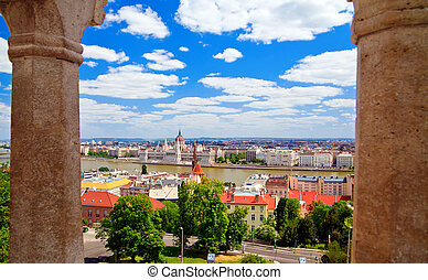 Beautiful Budapest Through Columns - panorama of Budapest...