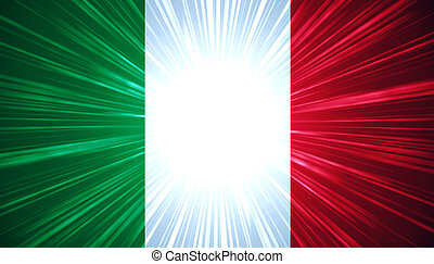 Italian flag with light rays abstract background