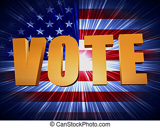 golden vote with shining american flag