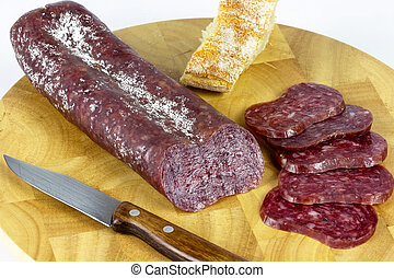 Iberian sausage table - Iberian sausage sausage on a wooden...
