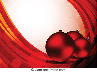 Xmas background in red color with balls