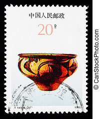 Stamp printed in China shows Chinese ancient color pottery