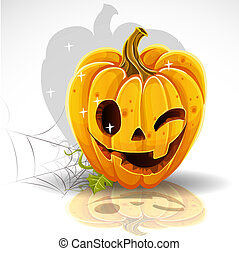 Halloween pumpkin winking Jack - Halloween cut out pumpkin...