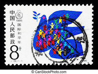 Stamp printed in China shows International Year of peace - A...