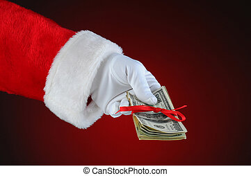 Santa Claus Hand With Money - Santa Claus hand with cash...