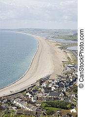 Chesil Beach, Dorset - View from above of the long isthmus...