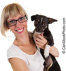 Young woman and small cute dog - Portrait of young woman and...