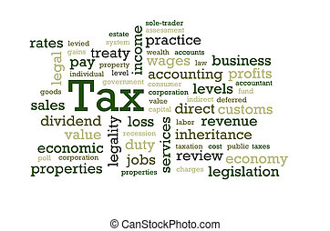 Tax Word Cloud - Words associated with 'Tax'.