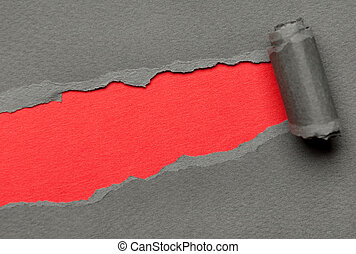Torn grey paper with red space for message - Torn grey paper...