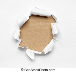 Hole ripped in white paper - Beige circle shape breakthrough...