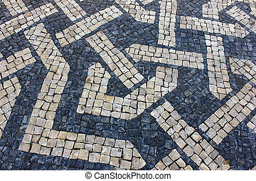 Portuguese pavement - Detail of a portuguese stone pavement