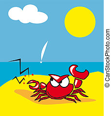 crabe, crustac?, animal, personnage, col?re, bagarre,...