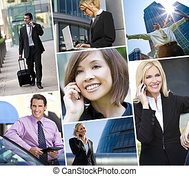 Interracial Men and Women Business Team - Montage of...