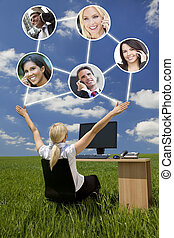Businesswoman Computer Network In Green Field - Business or...
