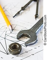 tools and mechanisms detail on the background of engineer...
