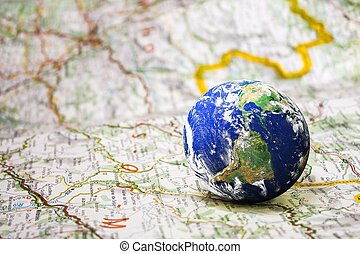 earth on road map background,global travel concept