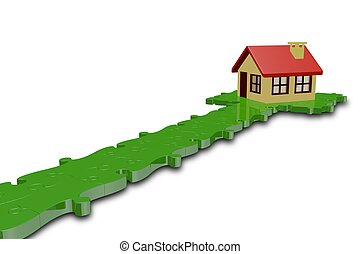path puzzle with house,3d