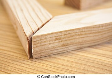 pine wood planks on wood table construction background
