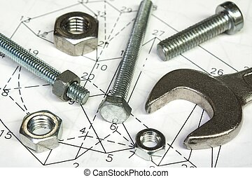 spanner and nuts over technical drawing,mechanic concept