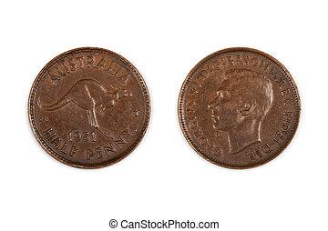 Australian Half Penny Coin Isolated - Old 1951 Australian...