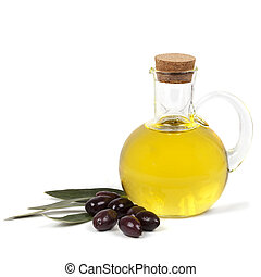 Olive Oil and Black Olives Isolated