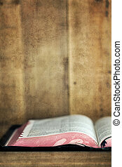 Old Bible Open on Bookshelf with Grunge Effects - Old Bible,...