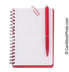 Red notebook with notice paper and pen isolated on white...