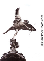 Statue of Eros in Piccadilly Circus by Gilbert (1893), London, UK in Black and White Sepia Tone