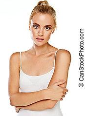 Gorgeous blonde woman on white
