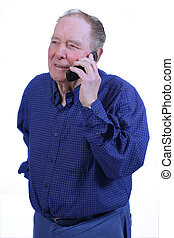 Elderly man using cell phone,talking on cell phne