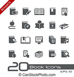 Livre, icônes, //, élémentsessentiels,...