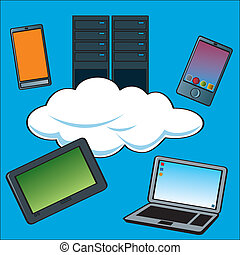 Cloud Computing Servers - A cartoon depiction of the term...