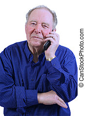 Elderly man using cell phone